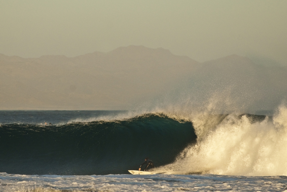Although he normally spends his summers in Mainland Mexico, Josh Mulcoy couldn't resist the draw of long period swell in the Baja desert, and flew in with a magazine crew for a two-day strike.