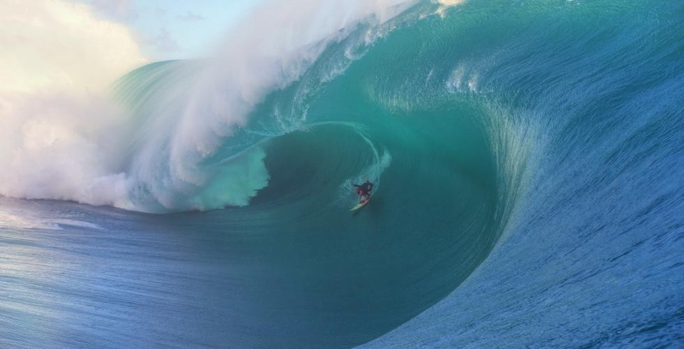 The image that won Keala the barrel award at the Big Wave Awards. She's a regular at Teahupoo so this must look a lot like home.