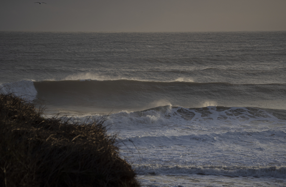 This is supposed to be a sheltered spot...yeah, you can see the full magnitude of this swell.