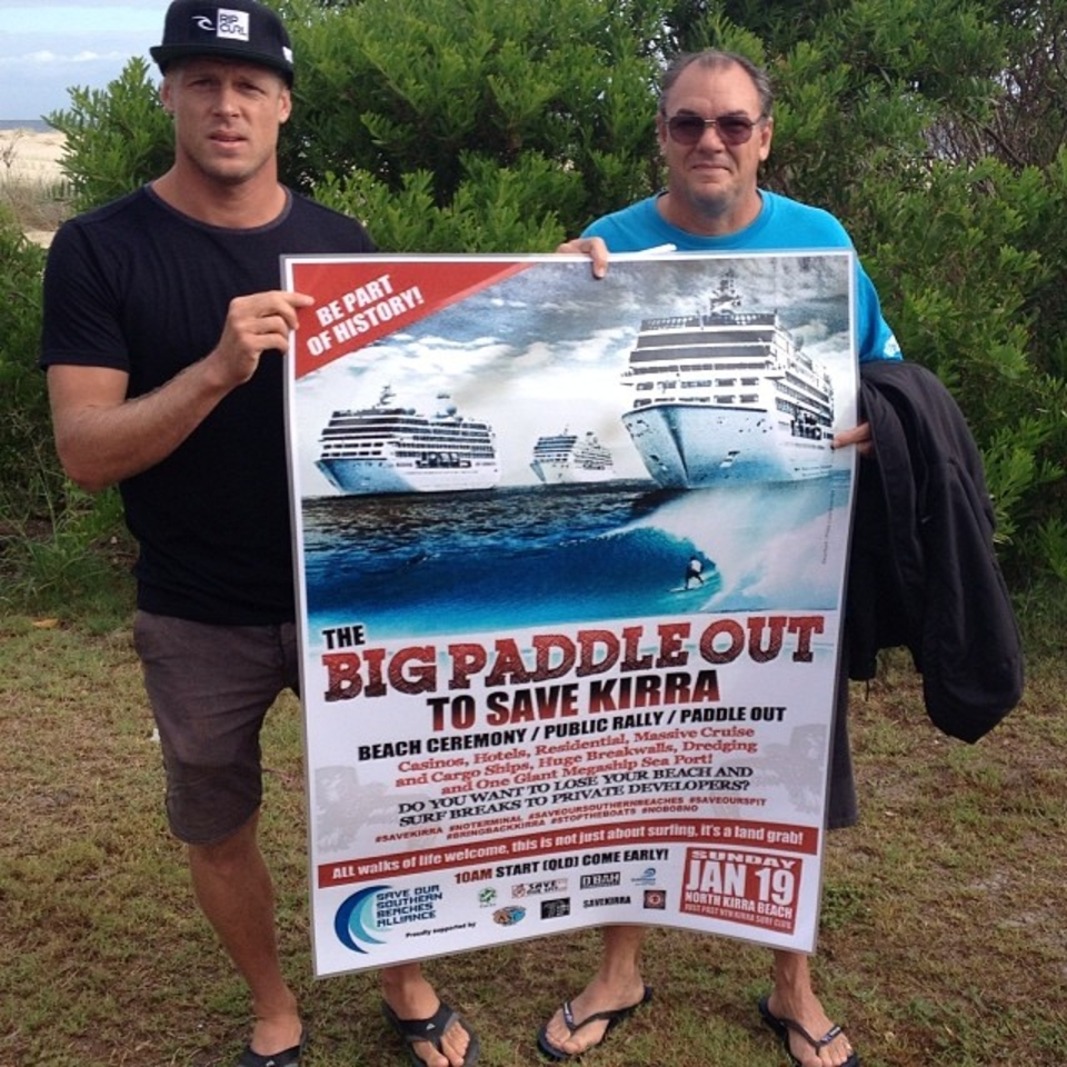 Gold Coast's favourite son - Mick Fanning - was set against the Kirra cruise terminal amidst concerns it would kill off Kirra.