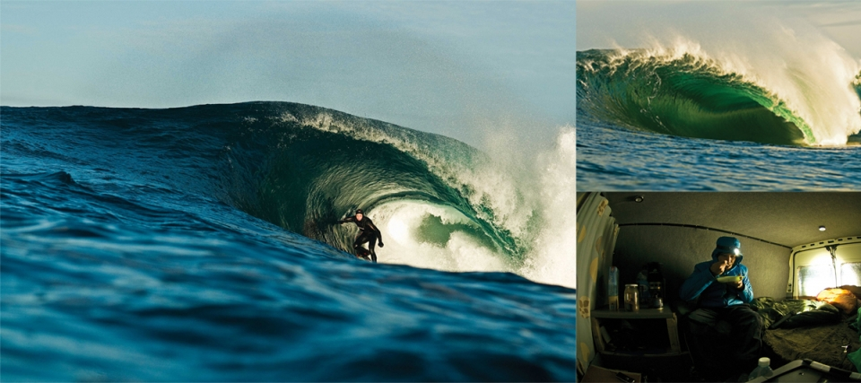 Ian found his Transit van on a building site, he bought it and with the help of a couple of mates converted it into the ultimate home from home so he could spend extended times in places, living mostly off just oats, in places to score waves like these.