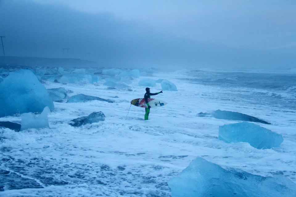 Mid-winter in Iceland. Snow falling, only about four hours of light, a windchill way below freezing and a field of icebergs to get through before you can surf. Ian Battrick getting ready for a standard solo session.