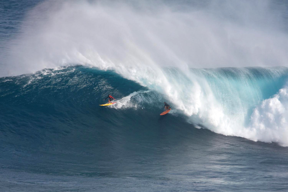 First wave a Jaws, barrelled and shared with Kai Lenny. Not bad...