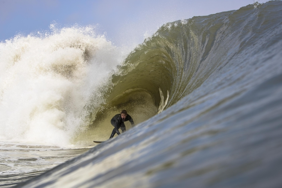 Benji Brand, finding shade under a Namibia keg, when this sand-bottomed drainer resembled more Teahupoo than anything.