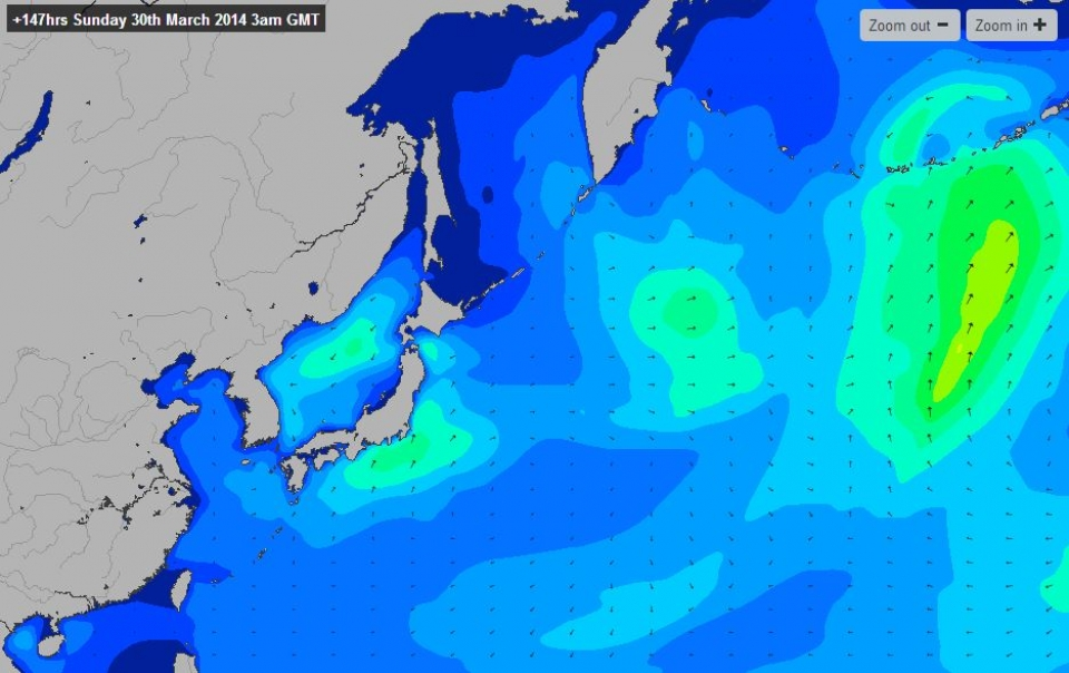 Much like the US East Coast, throughout winter low pressures spin off the mainland from China, eventually becoming larger systems in the North Pacific. As the system moves off, the winds lighten, and North Korea is left with solid clean swell.