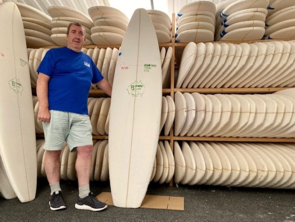 Nigel Semmens, proud owner of the UK's longest running surfboard factory.