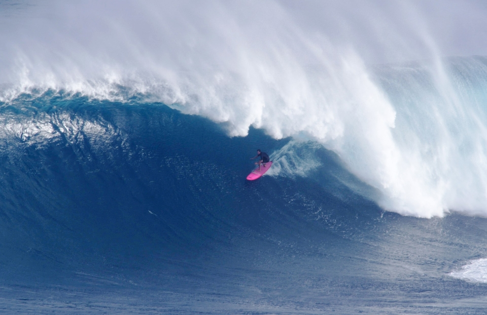 Greg Long under the lip at Jaws during an early season October swell