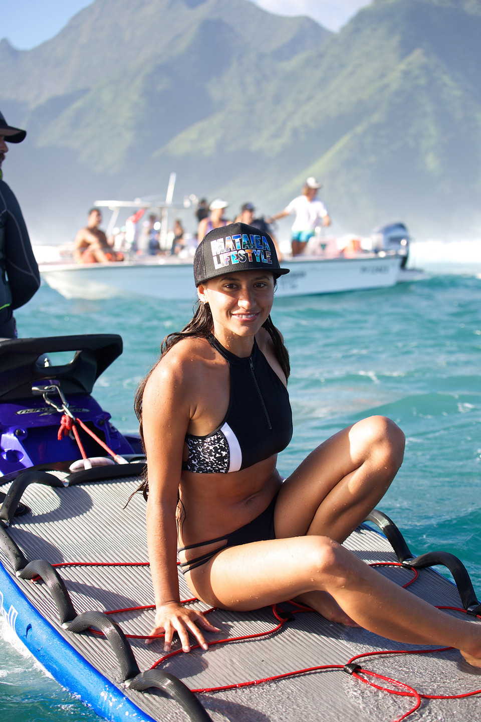 Rava enjoying the spectacle of Teahupoo at size.