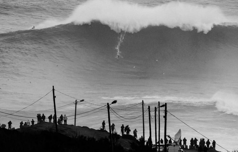 Andrew Cotton on a typically monumental Nazare peak, the wave of the day they were calling it.