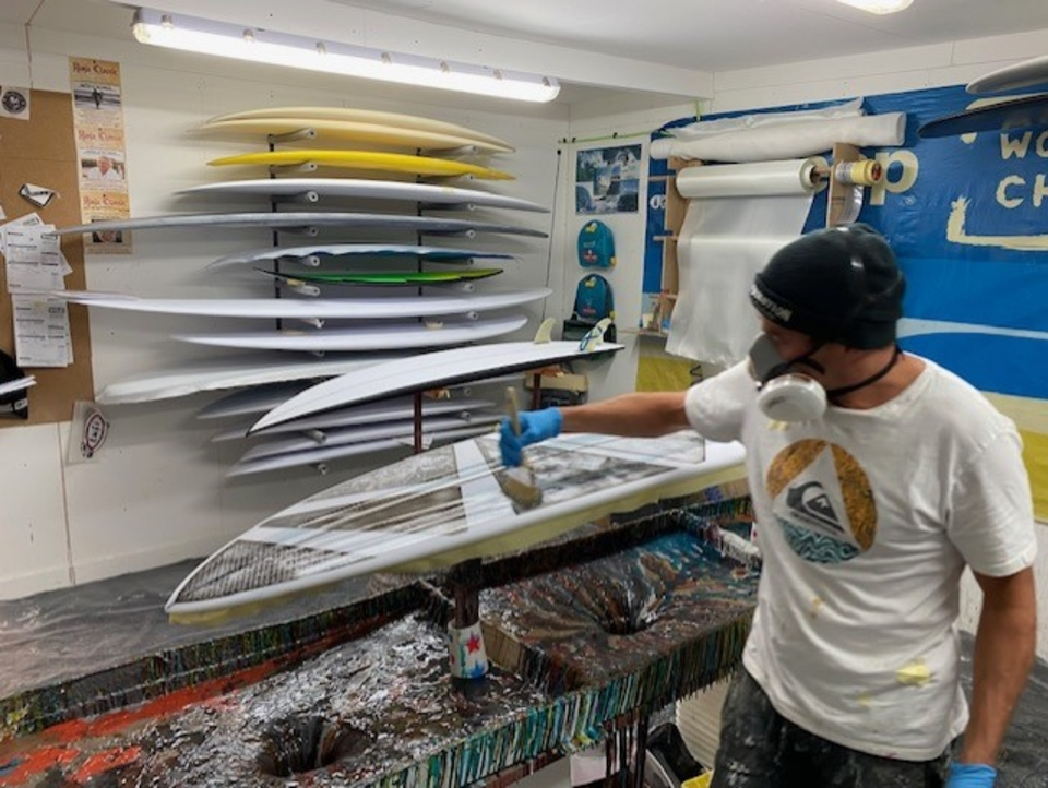 Behind the front line at Skindog Surfboards.