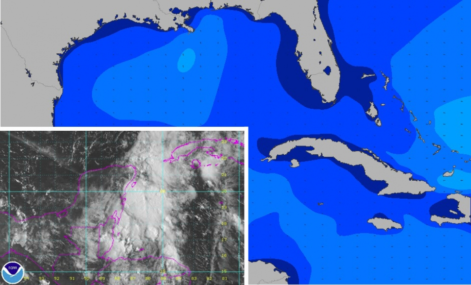 Invest 92-L over the Yucatan, this was the point that land interaction proved decisive in the storm not ever strengthening into a named system (what would be been Fernand). Instead it ended up as just another number.