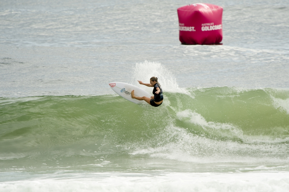 Happy Gilmore off the top, reigning five-time ASP Women's World Champion and defending Roxy Pro winner.