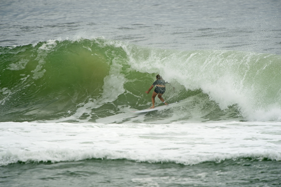 Then Steph dropped into a 9.8 and bang, she had tamed Kirra, the mythical wave. One which makes Parko grin like a 5-year-old with a cardboard box.