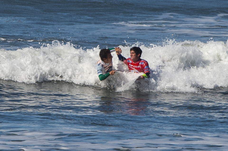 Filipe Toledo having just defeated Gabriel Medina