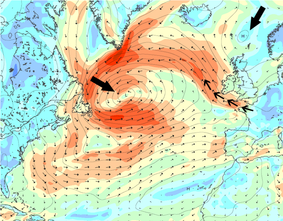Swell producing low pressure in the Atlantic meets high pressure over Europe, creating an almost ideal situation. However the high is slightly shifted back over the North Sea creating strong offshore winds for the western coasts along the pressure gradient of the systems' connection.