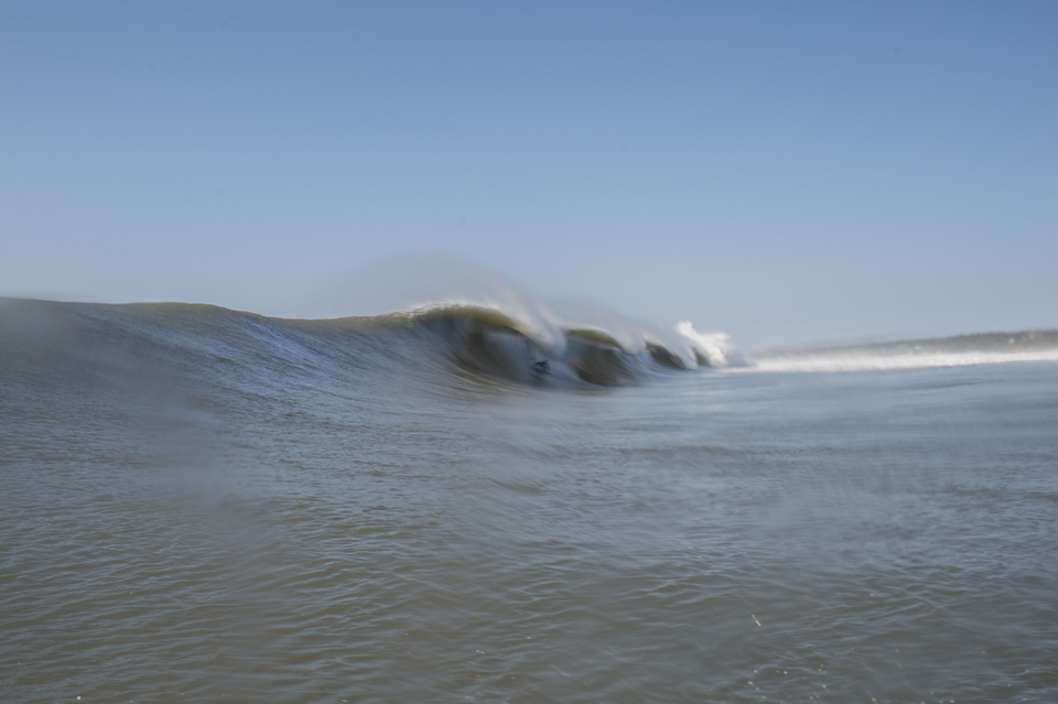 Forgive the water spots on the camera here. Will Skudin, tucked in and captured from the relative safety of the channel.