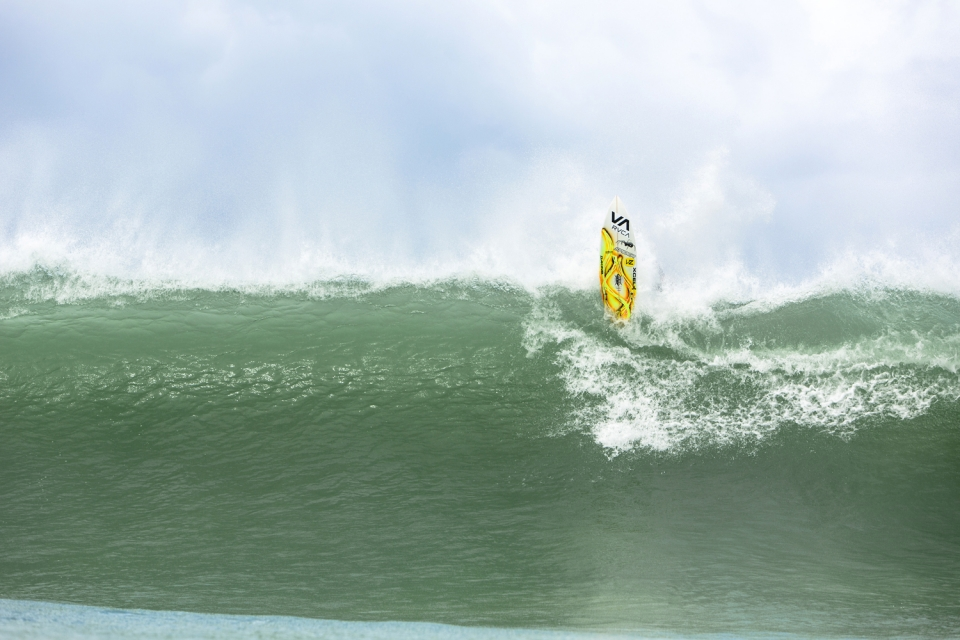 U13, U16 and U17 groms tackled the giant surf as bravely as any I have ever met, and earned the respect of parents and elders alike. But even the bravest known when to bail. Young York van Jaarsveld exits a rocky, inside closeout.