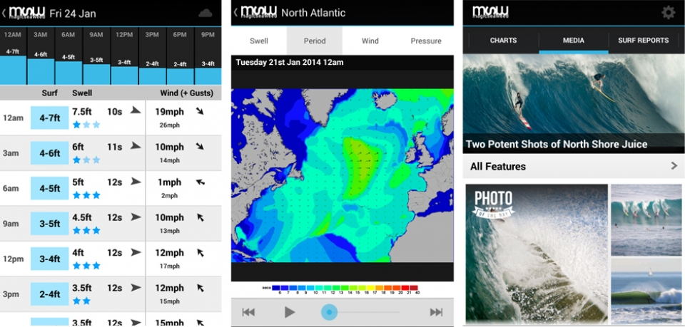 From left: The new forecast layout, the chart player and the media stream.