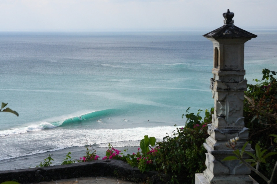 Bingin, from above. Perfect waves for you, but your non-surfing partner can spend the morning seeking little cultural accents.