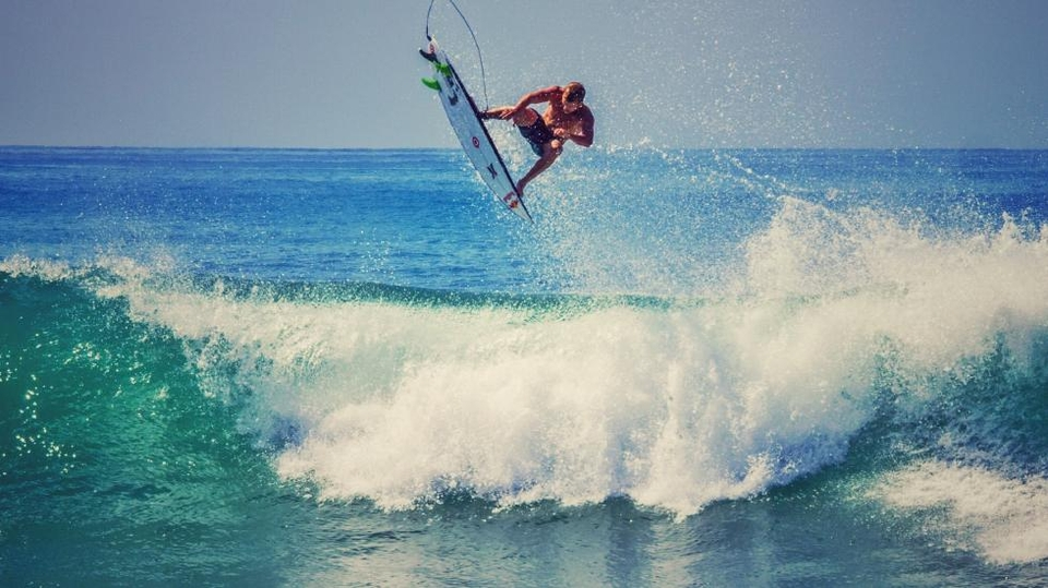 Kolohe Andino spent a fair chunk of the Labor Day weekend above the lip.
