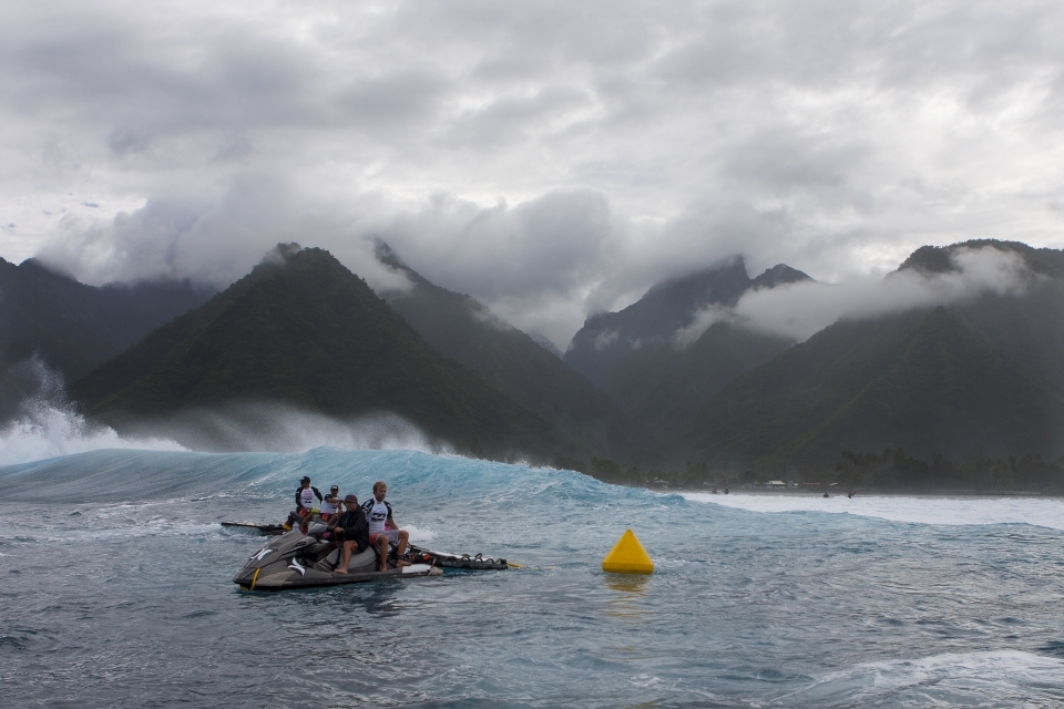 Teahupoo becomes a whole lot more menacing when the clouds move in.
