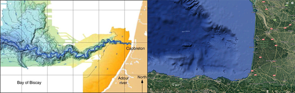 On the left, you can see the trench point directly at Capbreton. And the right, the trench's vastness as evidenced by Google Earth.