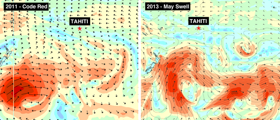 A comparison between the wind fields of the Code Red storm in 2011 (left)  and the recent huge swell of 2013.