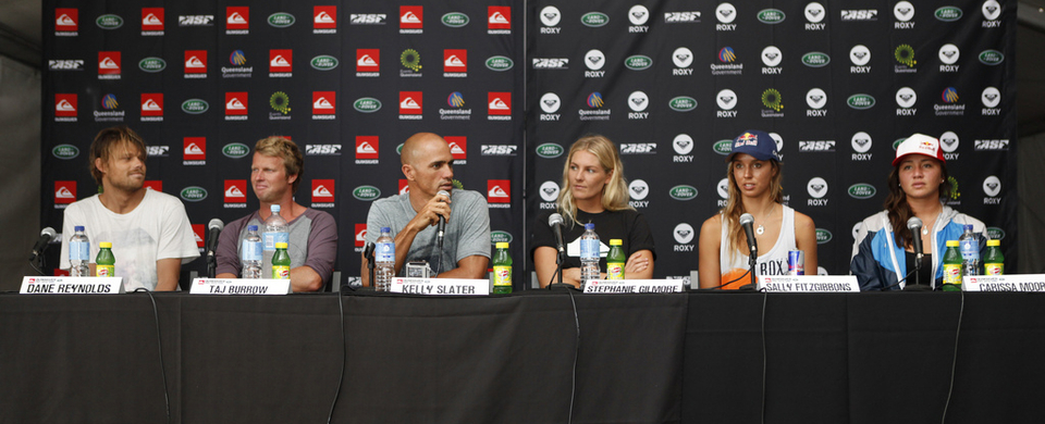 Dane, Taj, Kelly, Steph, Sally and Carissa press conference at the Quik Pro Gold Coast.