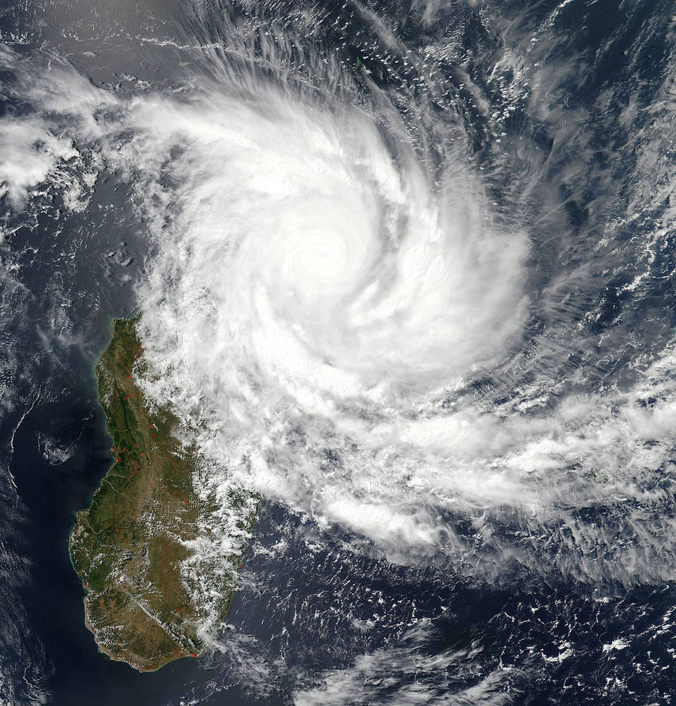 Cyclone Enawo making landfall mid last week. It was downgraded to a tropical storm shortly after but winds reached up to 185mph while around 12 inches of rain hammered Madagascar's north east in just 12 hours.