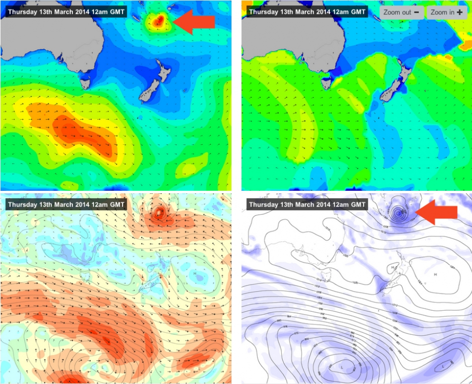 Four perspectives of Lusi. A belt of strong easterly winds created by Cyclone Lusi's interaction with a high pressure system to its south generated a long period swell headed towards the East Coast.