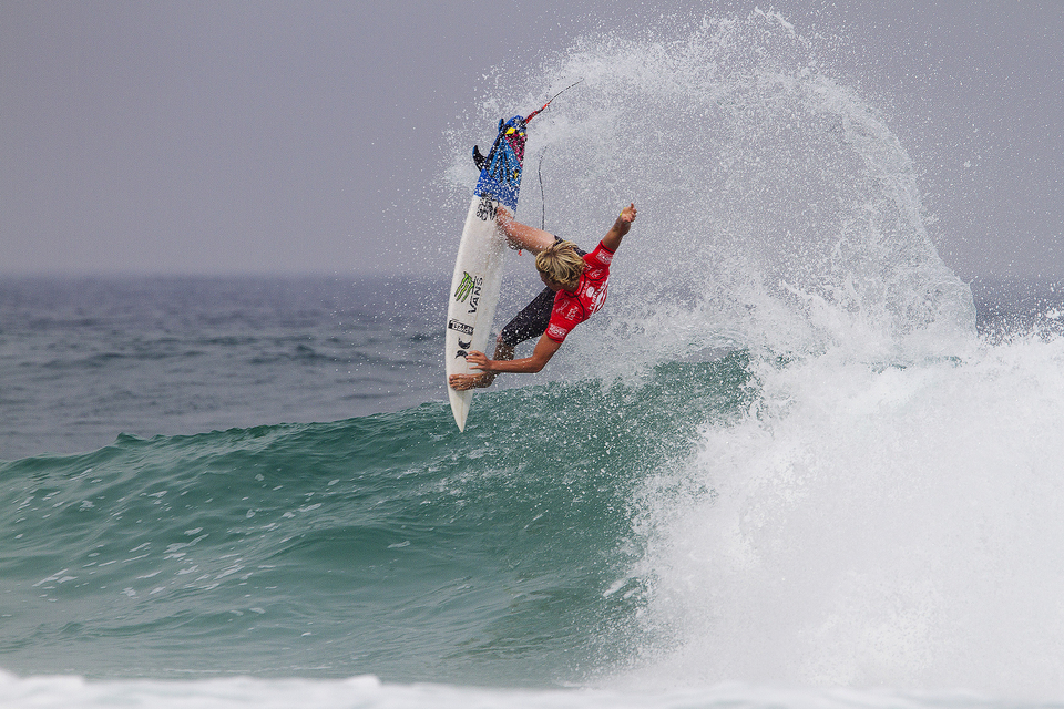 """John John trailed CJ Hobgood until the final minute of his round 1 heat. """"I was going to try and do an air on that last wave, but it had a perfect little barrel on it and I was so happy because I fell on so many waves,"""" said Florence. """"Winning this event was one of the biggest accomplishments of my life and it's the only WCT event I've won. I didn't get to surf last year because of my ankle. I love beachbreaks like this, the people are so passionate and I'm really glad to be back."""""""