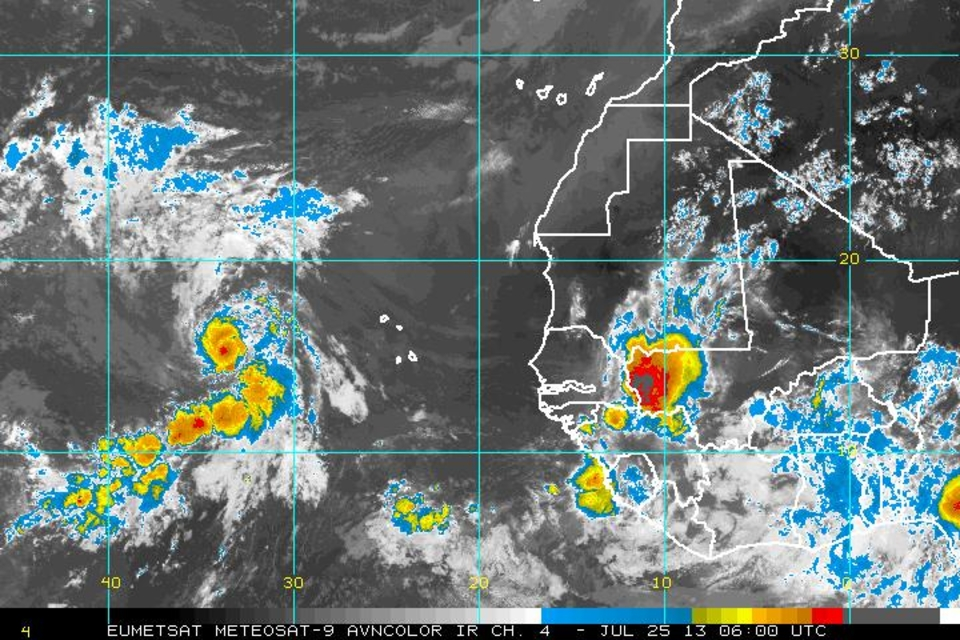 Infrared image of Dorian moving towards the Caribbean Islands.