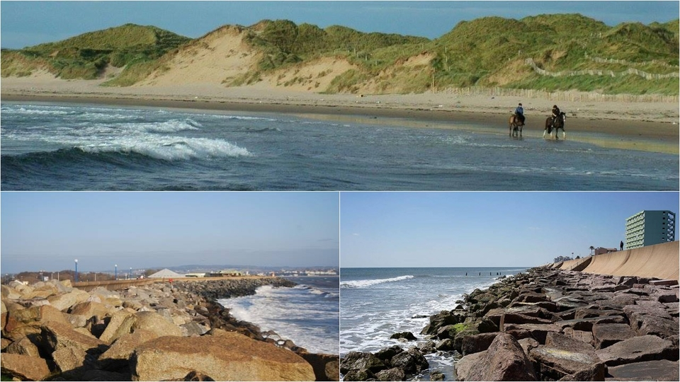 Top image, Doughmore how it is now. Bottom images, examples of rock walls on other beaches.