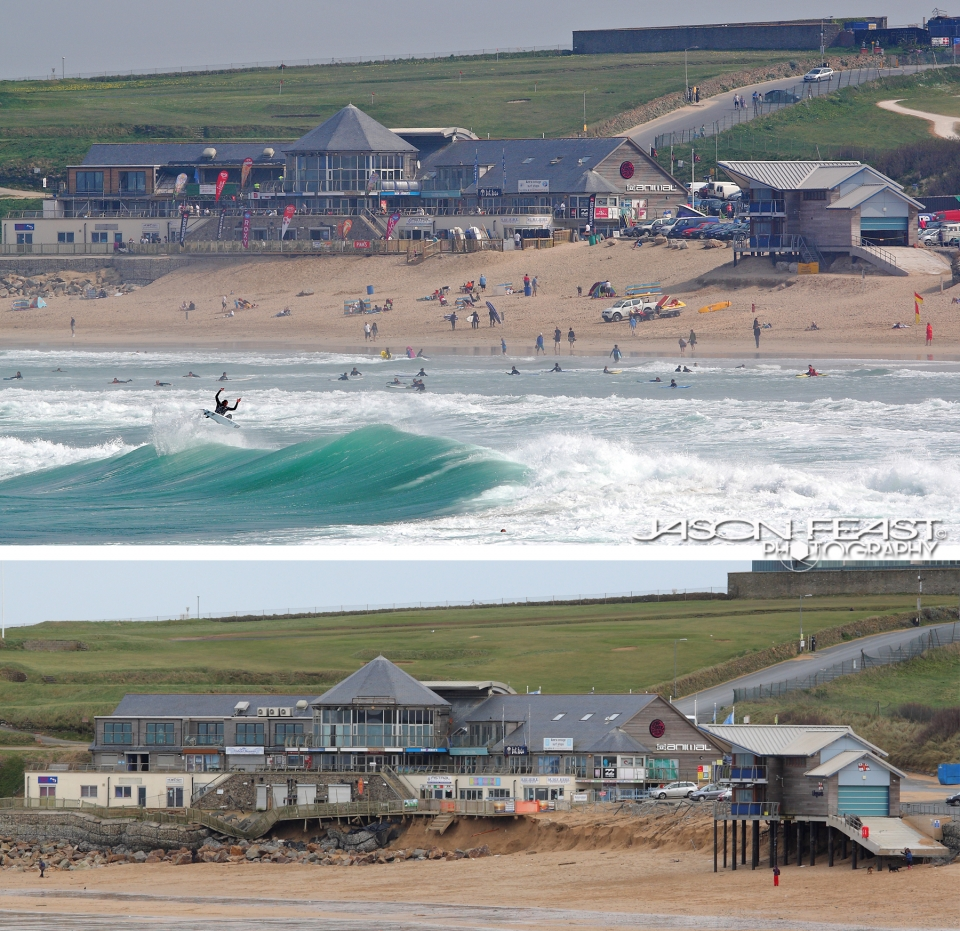 Fistral Beach before and after the recent storms. You Can see how the protective layer of sand has been washed away allowing the high tide wave action to undermine the beachside property. That's Alan Stokes jumping for joy in the summer.