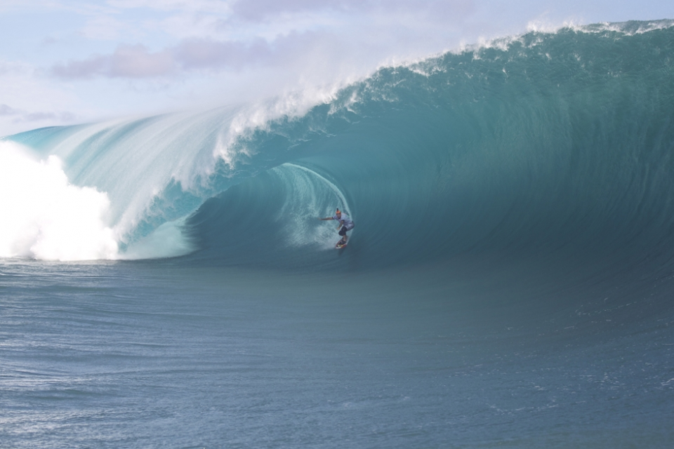 Garrett McNamara scored one of the waves of the day - as is his way.