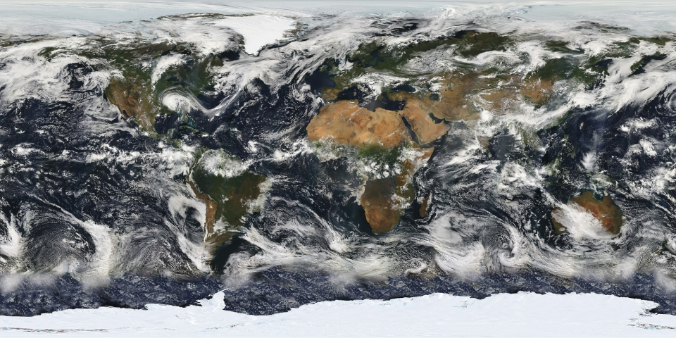 Earth's interconnected weather systems as observed from space