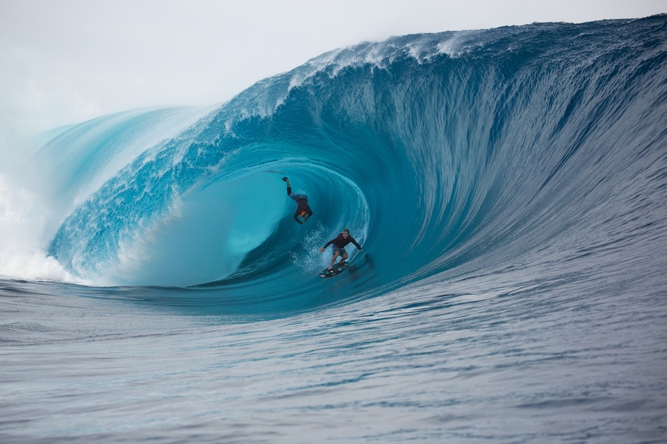 Garrett and Healey attempt to share a Teahupoo bomb back in June of 2013.