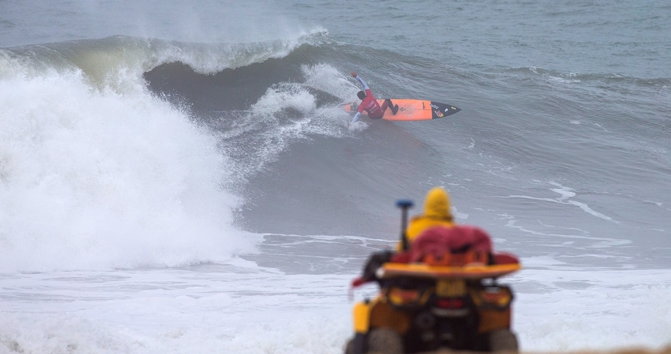 When you're doing a layback hack in a big wave event... is it even a big wave event?
