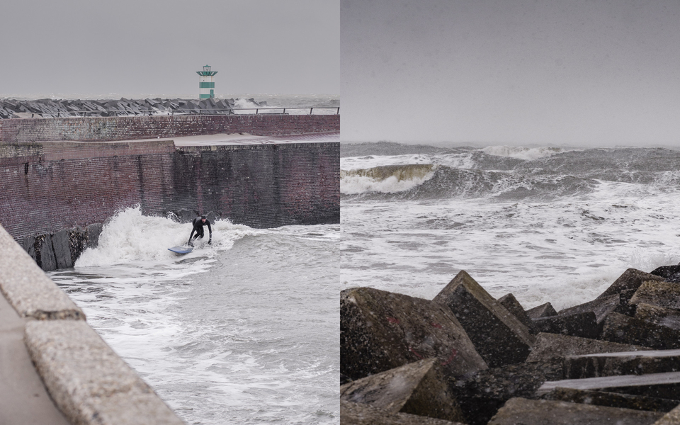 When Holland's stormy, you got to get your kicks somehow, like, against a harbour wall.