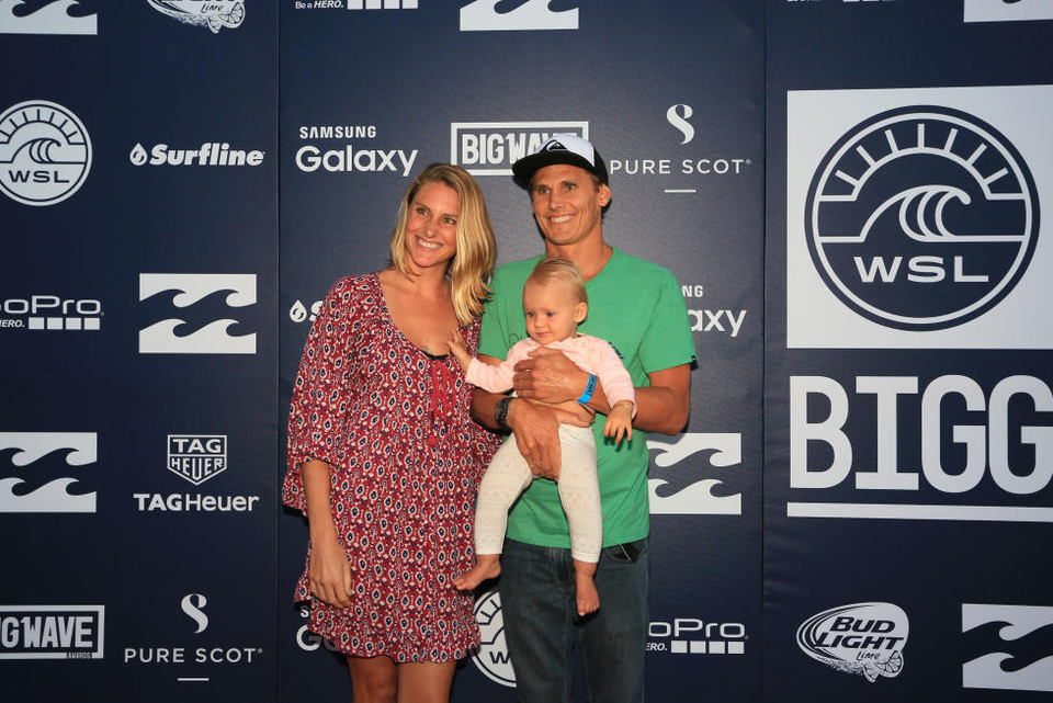 Jamie and his family at the WSL Big Wave Awards.