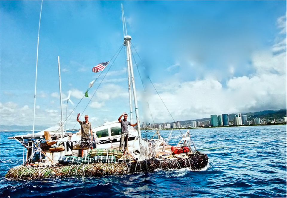 Marcus, right, with his shipmate Joel Paschal on board Junk in 2008.