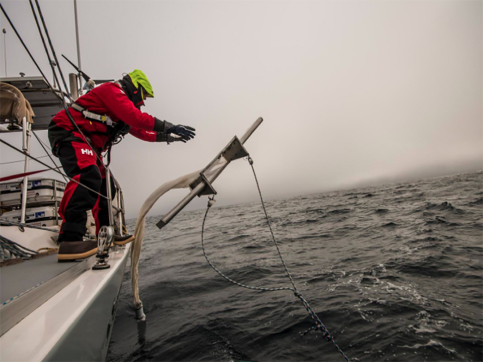 Deploying one of the trawls 5 Gyres uses to measure the extent of marine plastic pollution.