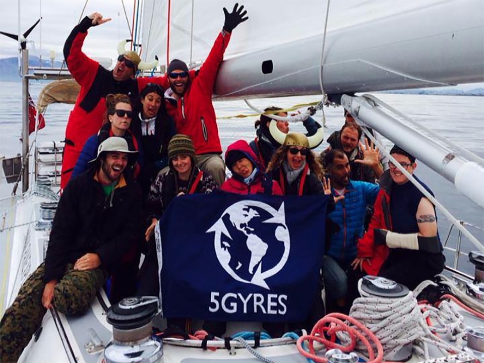 The crew of a recent 5 Gyres research voyage.