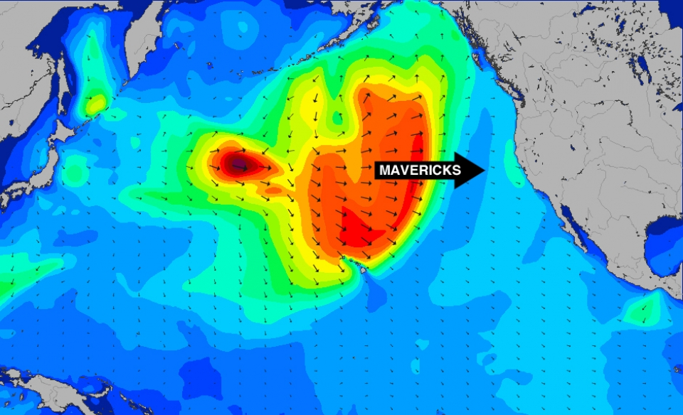 Having clobbered Jaws this swell is now on a direct path to Mavericks.