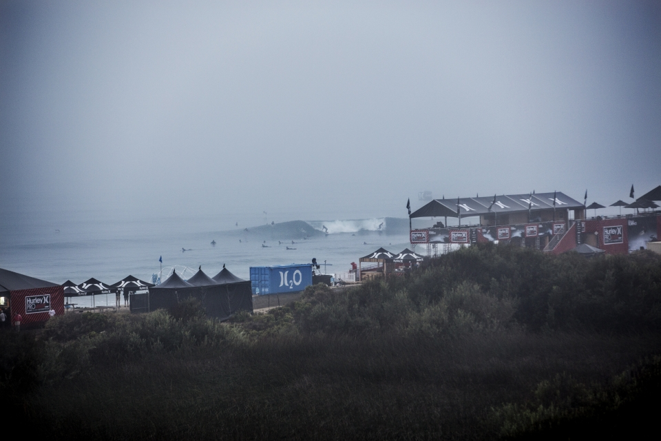 Dense fog and a gradually declining swell greeted competitors for the start of the Hurley Pro. A day of tense heats and ferocious surfing was to transpire.