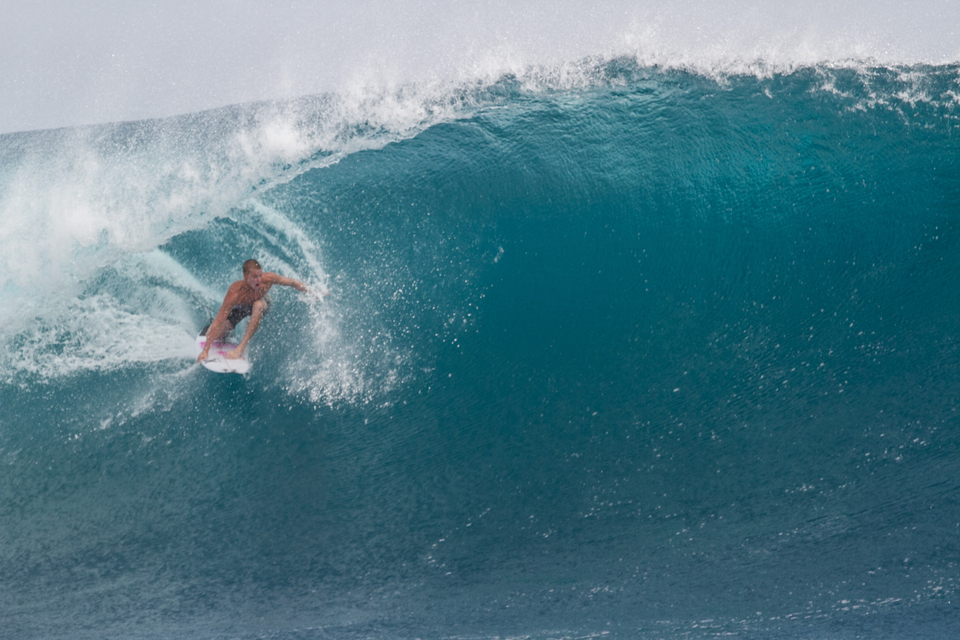 Kolohe Andino blowing his own trumpet.