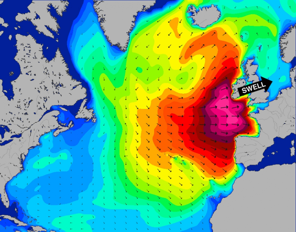 This was a giant swell but not quite perfect for Mullaghmore with the bulk of the energy to the south. Not quite XXXL, the headline is silly joke, just in case you missed it.
