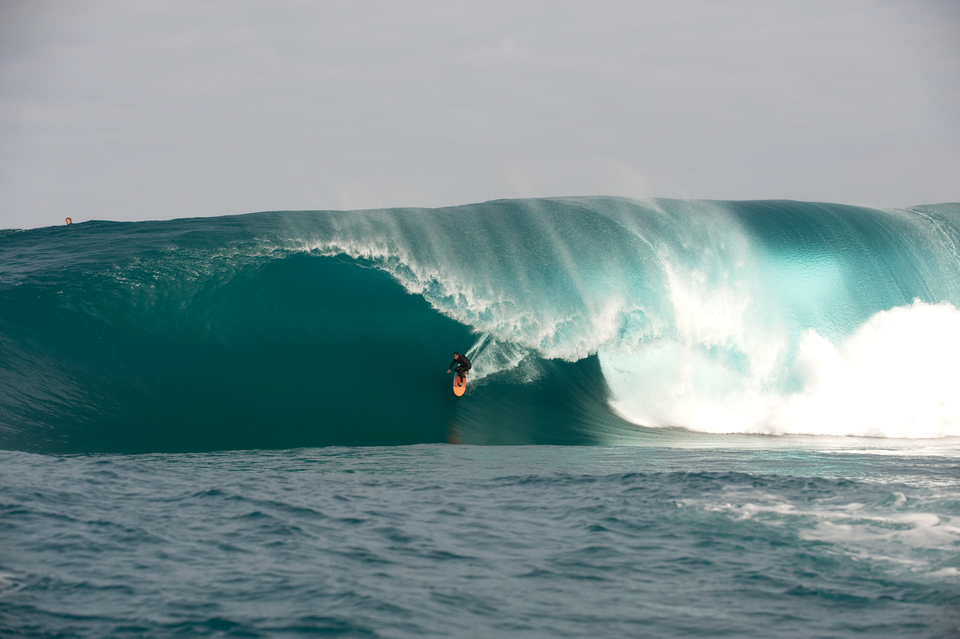 Dean Morrison finding a runner at The Right, one of the world's least predicable waves.