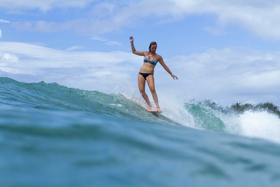 Longboard world champ, Rachael Tilly, proficient in most waves.