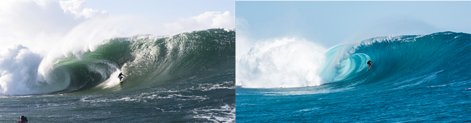 On the left, we have Nic Von Rupp at jacking Mullaghmore (image by Tim Borrow) and the right, Dane Gudauskas charging Cloudbreak (by Brad Scott) - but it is not water temperature that adds to the heavy factor of a wave.
